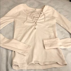 Free people size XS white tie up long sleeve